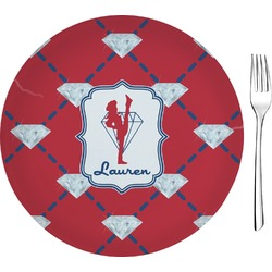 "Red Diamond Dancers Glass Appetizer / Dessert Plates 8"" - Single or Set (Personalized)"