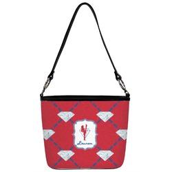Red Diamond Dancers Bucket Bag w/ Genuine Leather Trim (Personalized)