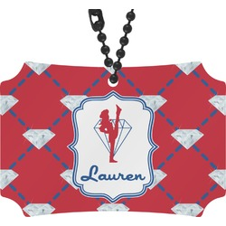 Red Diamond Dancers Rear View Mirror Ornament (Personalized)
