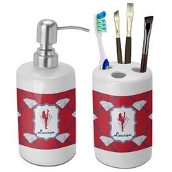 Red Diamond Dancers Bathroom Accessories Set (Ceramic) (Personalized)