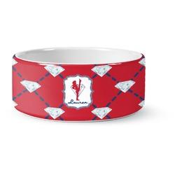 Red Diamond Dancers Ceramic Pet Bowl (Personalized)