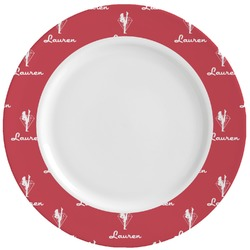 Red Diamond Dancers Ceramic Dinner Plates (Set of 4) (Personalized)