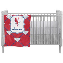 Red Diamond Dancers Crib Comforter / Quilt (Personalized)