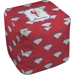 Red Diamond Dancers Cube Pouf Ottoman (Personalized)
