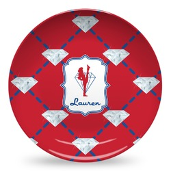 Red Diamond Dancers Microwave Safe Plastic Plate - Composite Polymer (Personalized)