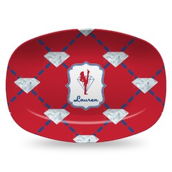 Red Diamond Dancers Plastic Platter - Microwave & Oven Safe Composite Polymer (Personalized)