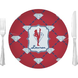 "Red Diamond Dancers Glass Lunch / Dinner Plates 10"" - Single or Set (Personalized)"