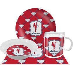 Red Diamond Dancers Dinner Set - 4 Pc (Personalized)