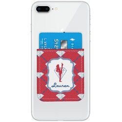 Red Diamond Dancers Genuine Leather Adhesive Phone Wallet (Personalized)