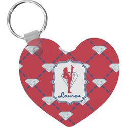 Red Diamond Dancers Heart Keychain (Personalized)