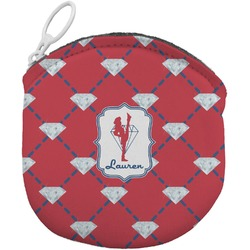Red Diamond Dancers Round Coin Purse (Personalized)