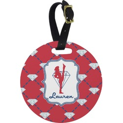 Red Diamond Dancers Round Luggage Tag (Personalized)