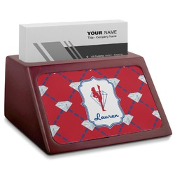 Red Diamond Dancers Red Mahogany Business Card Holder (Personalized)