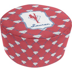 Red Diamond Dancers Round Pouf Ottoman (Personalized)