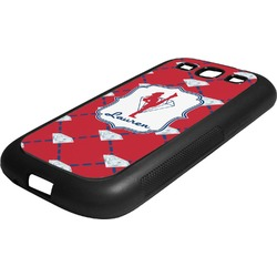 Red Diamond Dancers Rubber Samsung Galaxy 3 Phone Case (Personalized)