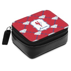 Red Diamond Dancers Small Leatherette Travel Pill Case (Personalized)
