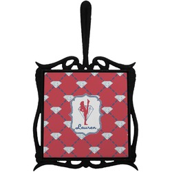 Red Diamond Dancers Trivet with Handle (Personalized)