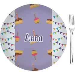 """Happy Birthday 8"""" Glass Appetizer / Dessert Plates - Single or Set (Personalized)"""