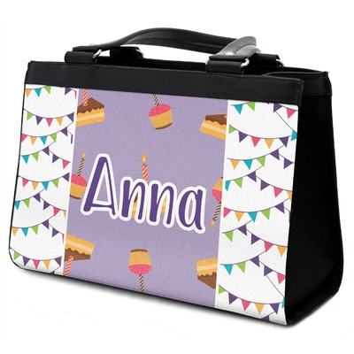Happy Birthday Classic Tote Purse w/ Leather Trim w/ Name or Text