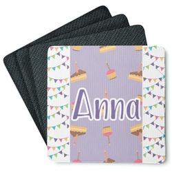 Happy Birthday Square Rubber Backed Coasters - Set of 4 (Personalized)