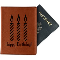 Happy Birthday Leatherette Passport Holder - Single Sided (Personalized)