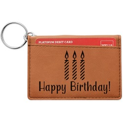 Happy Birthday Leatherette Keychain ID Holder (Personalized)