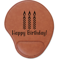 Happy Birthday Leatherette Mouse Pad with Wrist Support (Personalized)