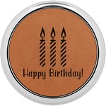 Happy Birthday Leatherette Round Coaster w/ Silver Edge - Single or Set (Personalized)