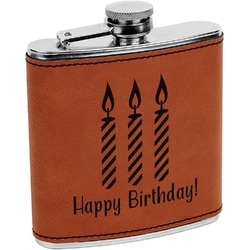 Happy Birthday Leatherette Wrapped Stainless Steel Flask (Personalized)