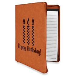 Happy Birthday Leatherette Zipper Portfolio with Notepad (Personalized)