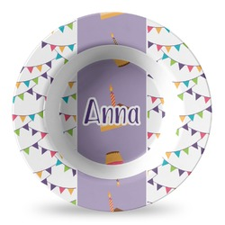 Happy Birthday Plastic Bowl - Microwave Safe - Composite Polymer (Personalized)