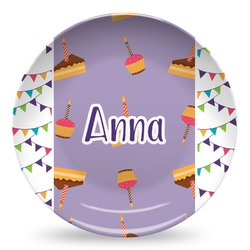 Happy Birthday Microwave Safe Plastic Plate - Composite Polymer (Personalized)