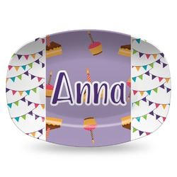 Happy Birthday Plastic Platter - Microwave & Oven Safe Composite Polymer (Personalized)