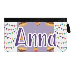 Happy Birthday Genuine Leather Ladies Zippered Wallet (Personalized)