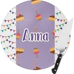 Happy Birthday Round Glass Cutting Board (Personalized)