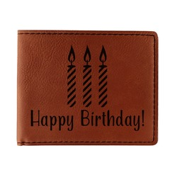 Happy Birthday Leatherette Bifold Wallet - Double Sided (Personalized)