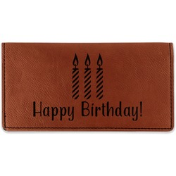 Happy Birthday Leatherette Checkbook Holder (Personalized)