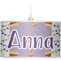 Happy Birthday Drum Pendant Lamp Linen (Personalized)