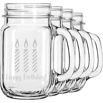 Happy Birthday Mason Jar Mugs (Set of 4) (Personalized)