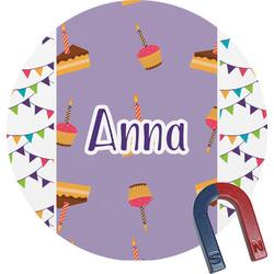 Happy Birthday Round Fridge Magnet (Personalized)