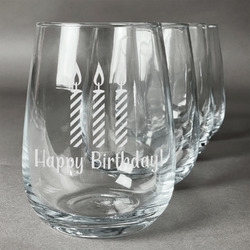 Happy Birthday Stemless Wine Glasses (Set of 4) (Personalized)