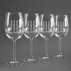 Happy Birthday Wineglasses (Set of 4) (Personalized)