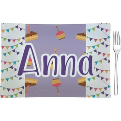 Happy Birthday Glass Rectangular Appetizer / Dessert Plate - Single or Set (Personalized)