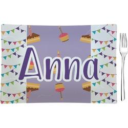 Happy Birthday Glass Rectangular Appetizer / Dessert Plate - Single or Set (Personalized)