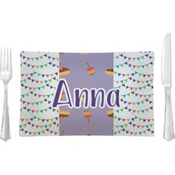 Happy Birthday Rectangular Glass Lunch / Dinner Plate - Single or Set (Personalized)