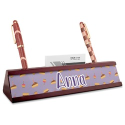 Happy Birthday Red Mahogany Nameplate with Business Card Holder (Personalized)
