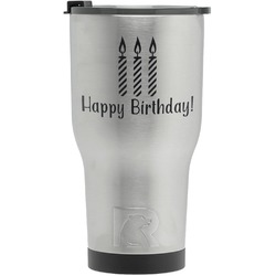 Happy Birthday RTIC Tumbler - Silver - Engraved Front (Personalized)