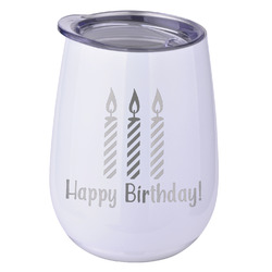 Happy Birthday Stemless Wine Tumbler - 5 Color Choices - Stainless Steel  (Personalized)