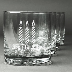 Happy Birthday Whiskey Glasses (Set of 4) (Personalized)