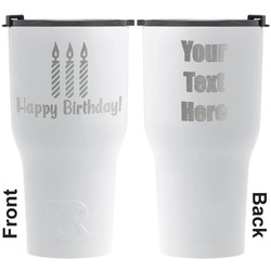 Happy Birthday RTIC Tumbler - White - Engraved Front & Back (Personalized)